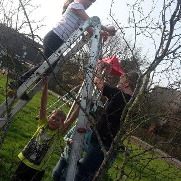 Kinder schmücken Osterbaum